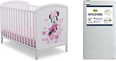 Disney Minnie Mouse 4-in-1 Convertible Crib by Delta Children+ Serta Perfect Slumber Dual Sided Recycled Fiber Core Crib and Toddler Mattress (Bundle)