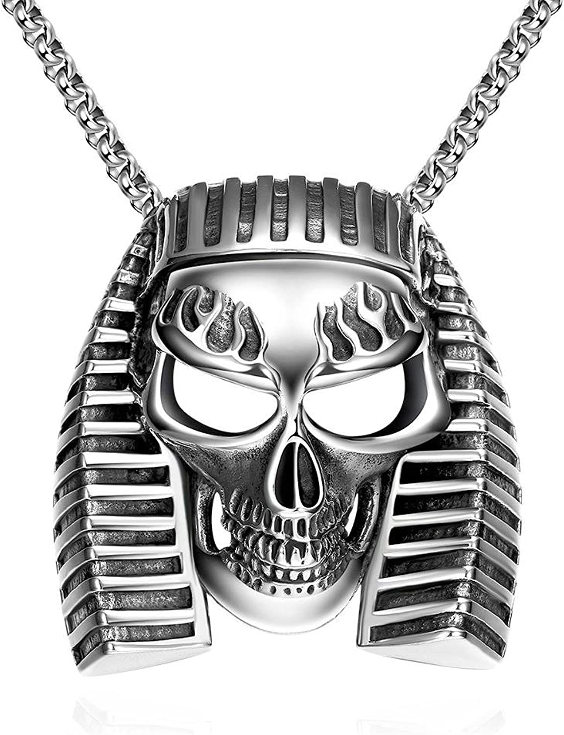 CATS Punk Style Stainless Steel Cable Chain Ancient Maya Vintage Egyptian Pharaoh Taro Male Pendant Necklace