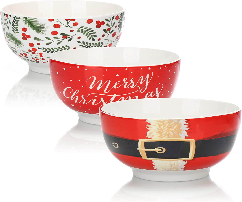 Snacks oder EIS Snackschale f/ür Dessert com-four/® 3X M/üslischale im Weihnachtsdesign Schale aus Porzellan je Sch/üssel 480ml 3 St/ück - Ho Ho Ho