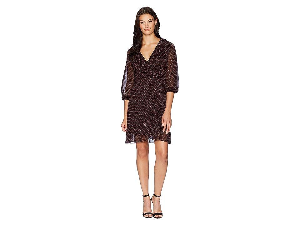 Adrianna Papell Diamond Foulard Wrap Dress (Black Multi) Women