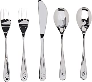 Premium Stainless Steel Kids Utensil Set, 5 Piece: 2 Forks, 2 Spoons, 1 Knife. Highest Quality, Lifetime