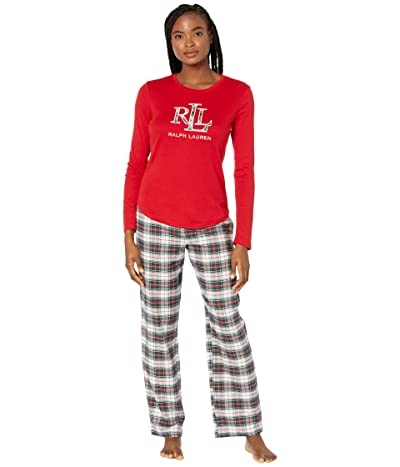 LAUREN Ralph Lauren Long Sleeve Knit Top Long Pants Pajamas w/ Applique (Ivory Plaid) Women