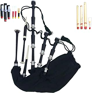 Scottish Great Highland Bagpipe Black Color Full Set Ready to Play Free Practice Chanter Tutor Book Drone Reeds,Cane Reed