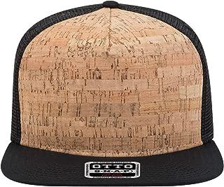 Product of Ottocap Polyester Foam Front Square Flat Visor, Five Panel Pro Style Mesh Back Trucker Snapback Hat -Blk/Cork/Blk [Wholesale Price on Bulk]