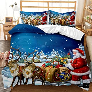 JSFN Zestaw pościeli bożonarodzeniowej dla dzieci Święty Mikołaj wzór czerwony biały Boże Narodzenie płatki śniegu poszewk...