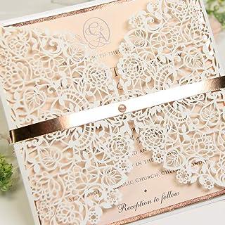 PARTECIPAZIONI matrimonio fai da te elegante SET anniversario fidanzamento compleanno battesimo DIY bianco pesca oro rosa ...