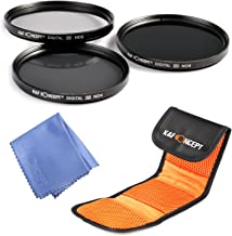 K&F Concept 52mm Lens Filter Kit Neutral Density ND Filter Set ND2 ND4 ND8 Compatible with Nikon Canon DSLR Cameras + Filter Pouch