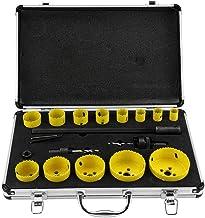 Fresas de corona de taladro 19-76 mm + 2 adaptadores para perforar metal hierro aluminio, juego de sierras de corona bimetal HSS para electricistas, 17 unidades