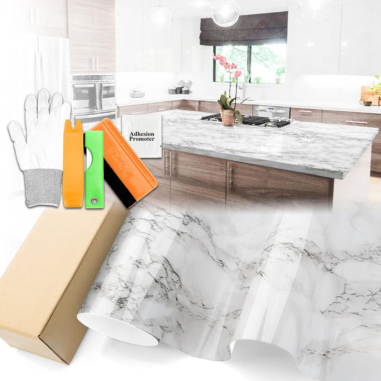 Gloss White Marble Granite Vinyl Wallpaper Paper Deco 70% Arlington Mall OFF Outlet Countertop