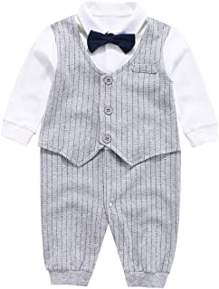 LYSMuch Newborn Baby Boys Long Sleeve Romper Infant Fall Winter Clothes Small Gentry Wedding Party Suit
