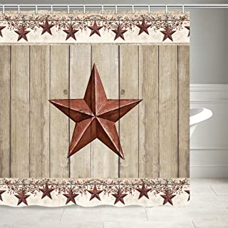 Rustic Barn Star on Wooden Door Shower Curtain, Western Texas Star and Primitive Berries on Country Wooden Plank Bath Curtains, Polyester Fabric Bathroom Shower Curtain 12PCS Hooks, 69X70IN