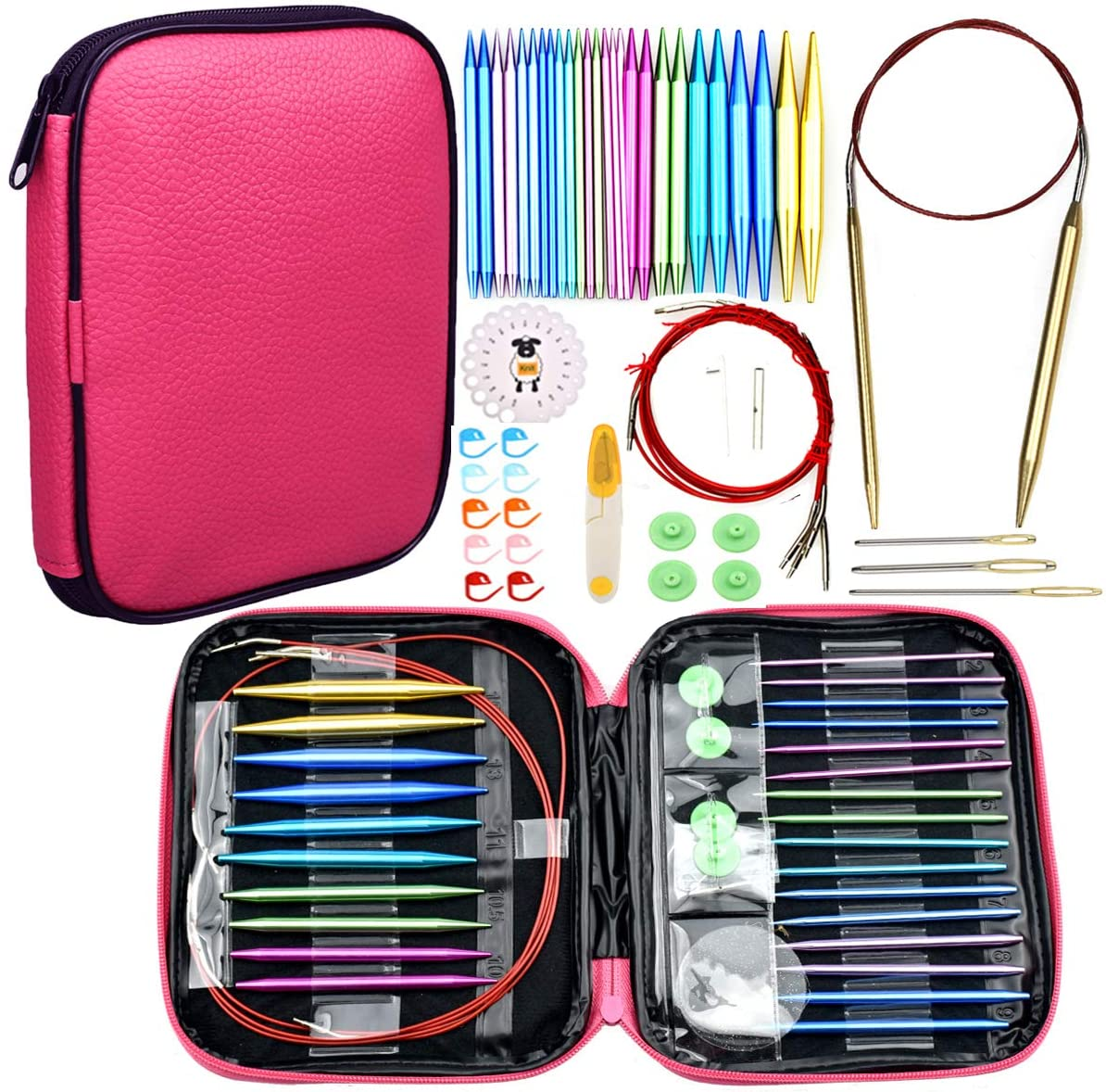 Looen 37pcs Aluminum Circular Knitting Needles Set with Ergonomic Handles,13 Size Interchangeable Crochet Needles with Storage Case for Small Project (Style 1)