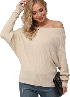 Women's Off Shoulder Waffle Knit Sweater Batwing Long Sleeve Loose Pullover Knit Jumper