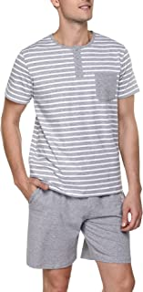 Irevial Men's 2-Piece Cotton Pyjamas with Pocket Long Pyjama Bottoms Short Two Piece Pyjamas Summer Sleepwear Loungewear -...