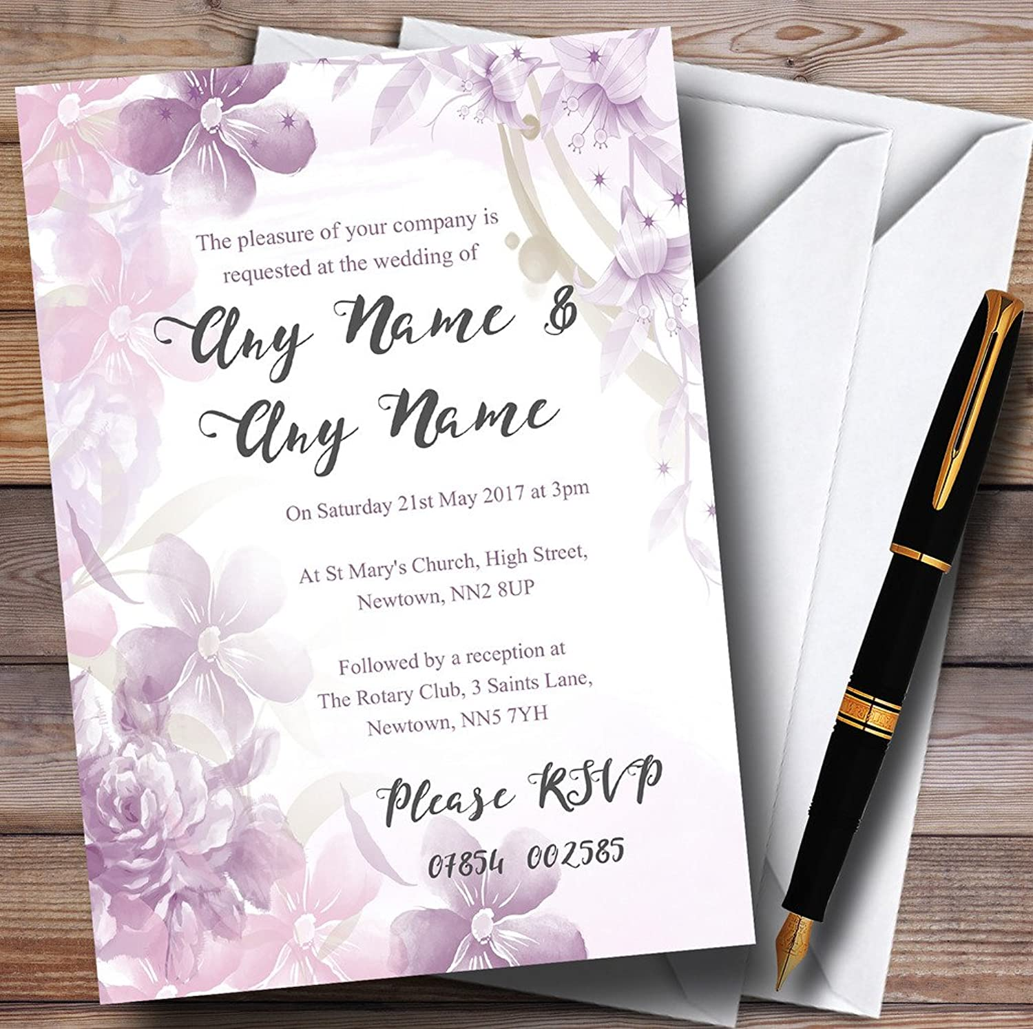 Pale Purple Watercolour Floral Personalised Evening Reception Invitations   Invites & Envelopes