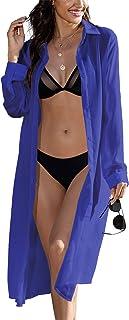 Zeagoo Sheer Chiffon Long Cardigans Women`s Roll Up Sleeve Open Front Cover Up Button Shirt