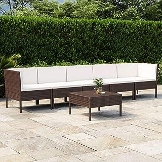 vidaXL Set de Muebles de Jardín 6 Piezas y Cojines Asiento Butaca Descanso Sofá Mueble Patio Exterior Elástica Estable Duradera Ratán Sintético Marrón