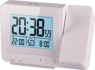 Think Gizmos Atomic Projection Clock with Temperature TG644 – Ceiling/Wall Projector Alarm Clock for Bedroom with 2 Alarms, Hygrometer and USB Port for Charging Devices (White)
