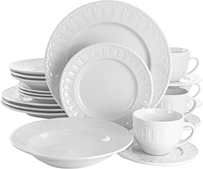 Elama Charlotte White Porcelain Dish Dinnerware Set, 20
