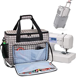 Teamoy Sewing Machine Bag, Travel Tote Bag for Most Standard Sewing Machines and Accessories, Gray Dots