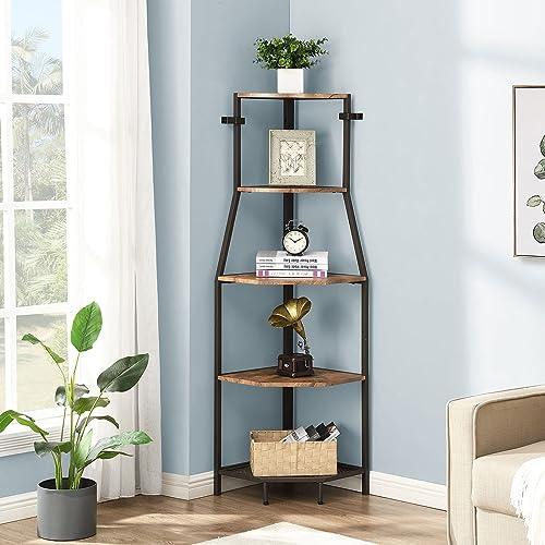 high quality O&K FURNITURE wholesale 5-Tier Industrial Corner Ladder Shelf, Standing Tall Corner Bookshelf, Small Corner Bookcase for Living online Room, Kitchen, Home Office, Brown online