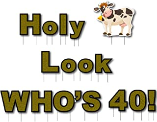 Oversize Planner by ABI Digital Solutions 40th Birthday Outdoor Yard Sign Decorations - HOLY Cow Look Who's 40! - Birthday Lawn Signs Decor with Stakes - 14 inch Letters - Funny Adult Decoration