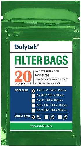 "Dulytek Premium Nylon 20 Pcs Filter Bags, 25 Micron, 1.75"" x 5"", Double-Stitching, Zero Blowouts"