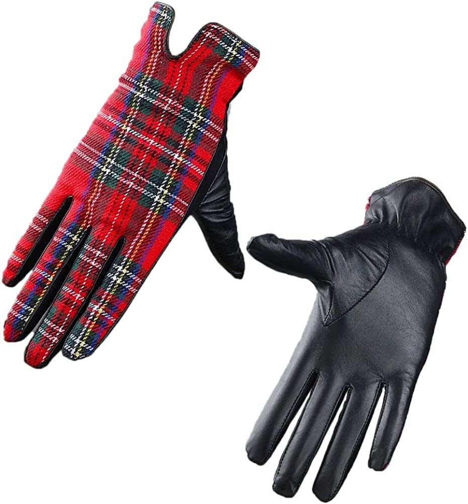TECH GLOVES Plaid Real Leather Wrist Long Red Scottish Grid Tweed Wool Gift