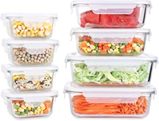 Fresh Friend 8 Pack Glass Food Storage Containers with Lids Airtight BPA Free, Leakproof Lunch Containers, Stackable Kitch...
