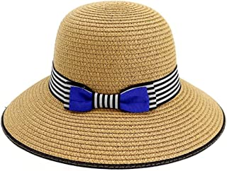 Songlin @ yuan 2019 Summer Dome Sun Hat Lady Bucket Hat Knit Travel Sun Hat Bowknot5 Color Beach Hat Ribbon Size:56-58CM (Color : Coffee, Size : 56-58CM)