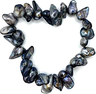 Natural Dark Grey Baroque Pearl Bracelet On Stretch Cord