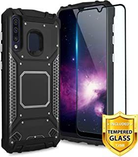 TJS Phone Case for Samsung Galaxy A20/Galaxy A30/Galaxy A50, with [Full Coverage Tempered Glass Screen Protector] Aluminum Metal Shockproof Military Protection Cover Built-in Metal Plate Back (Black)