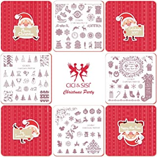CICI&SISI Christmas Nail Art Stamping Plates Kit Stamp Plate Manicure DIY Template 4 Pieces-Christmas Party