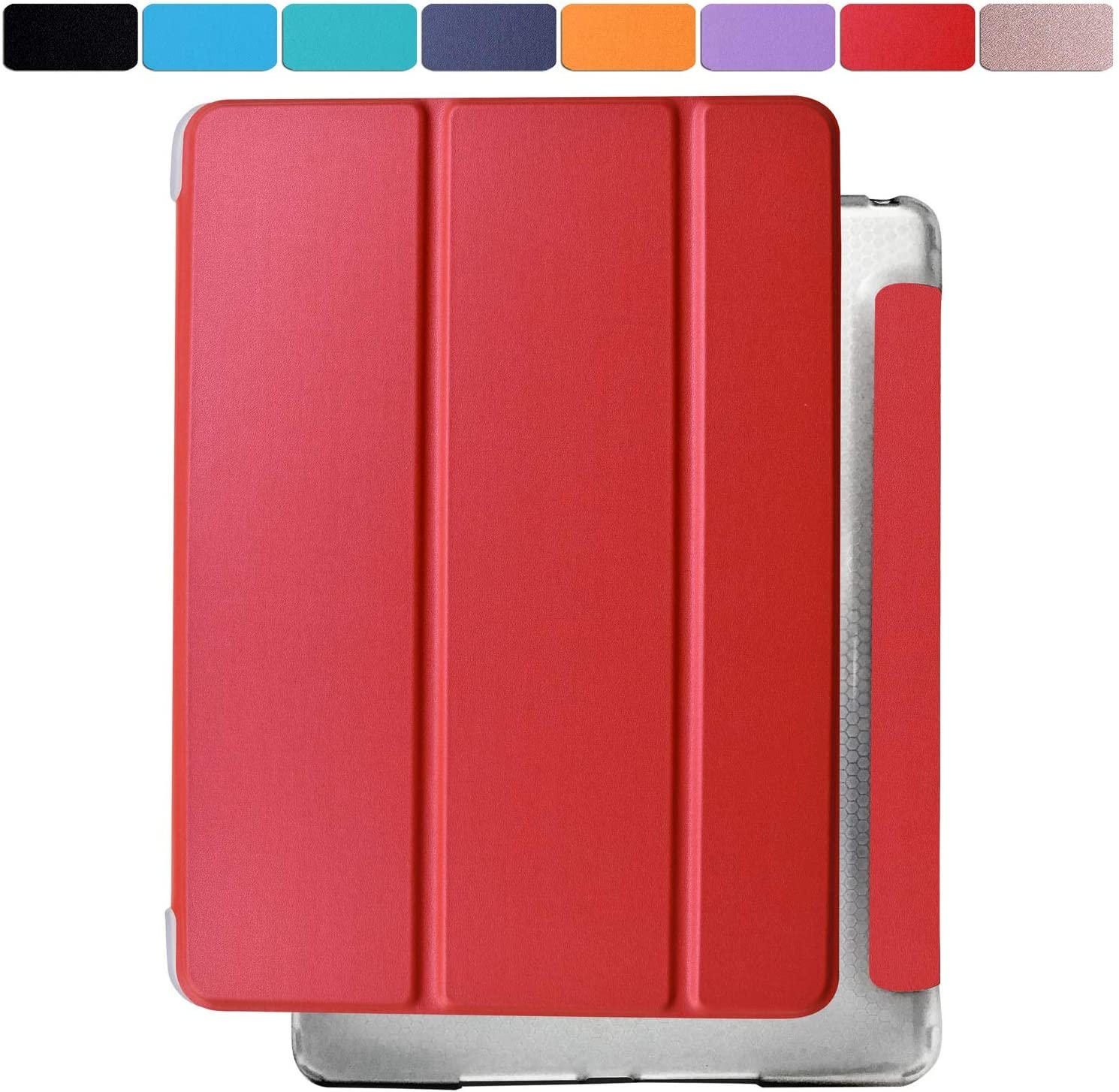 DuraSafe Cases for iPad PRO 10.5 Inch 2017 Air 10.5 3rd Generation 2019 [ Air 3 ] Shock Proof Magnetic Dual Angle Stand with Honeycomb Pattern Clear Back Cover - Red