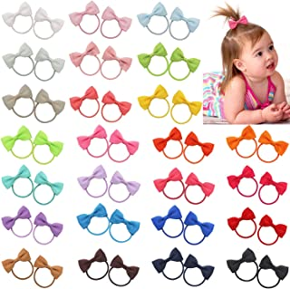 Qearl 50 Pieces 2 Inch Baby Girls Hair Bows Elastic Ties Grosgrain Ribbon Bow With Rubber Band Ponytail Holders Hair Acces...