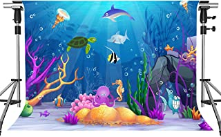 MEETSIOY Underwater World Backdrop for Party Photography Coral Sea Tropical Fish Background Ocean Theme Party Backdrop Decoration Props 7x5ft HXMT067