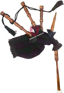 Junior Playable Bagpipes Rose Wood/Child Kids,Bagpipe Various Scottish Tartans (Black Watch Tartan)