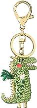Metalen Sleutelhanger, Met Diamanten Ingelegd Auto-ornament In De Vorm Van Een Dinosaurus, Zakgesp Als Klein Geschenk groen