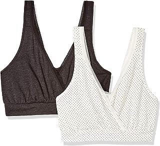 سترة نسائية من بلايتيكس، حمالة صدر للنوم أثناء الرضاعة من قطعتين، طباعة منقطة صغيرة/أسود، مقاس صغير