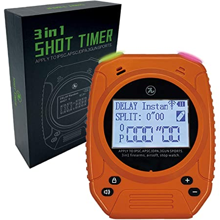 SPECIAL PIE Shot Timer - 2019 Newest 3 in 1 Shot Timer for Firearms Airsoft Stop Watch Perfect for Pistols Rifle Dry Fire in USPSA, IPSC, APSC, IDPA, 3 GUN, Steel Challenge Competition Timer (Orange)