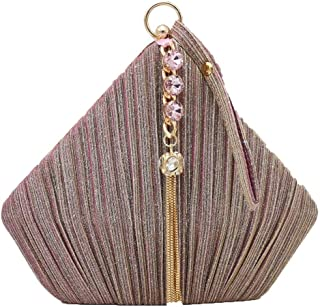 Your only brother Ladies Banquet Clutch Bag Three-Dimensional Triangle Bag with Diamond Tassel Wedding Dress Bride Dress Chain Shoulder Bag Black/Pink Size: 20.5 * 6 * 18cm (Color : Pink)