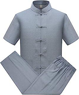 keepmore Cotone Lino Tai Chi Set per Uomo - 2 Pezzi Cinese Tradizionale Tang Suit Arti Marziali Abbigliamento Camicias + P...