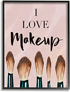 Stupell Industries I Love Makeup Text Pink Fashion Cosmetic Brushes Elizabeth Tyndall Black Framed Wall Art, 11 x 14