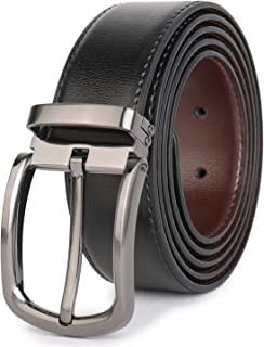 "Beltox Fine Men's Dress Leather Belts 1.25"" Wide with Classic Black Alloy Buckle Casual Belt for Jeans"