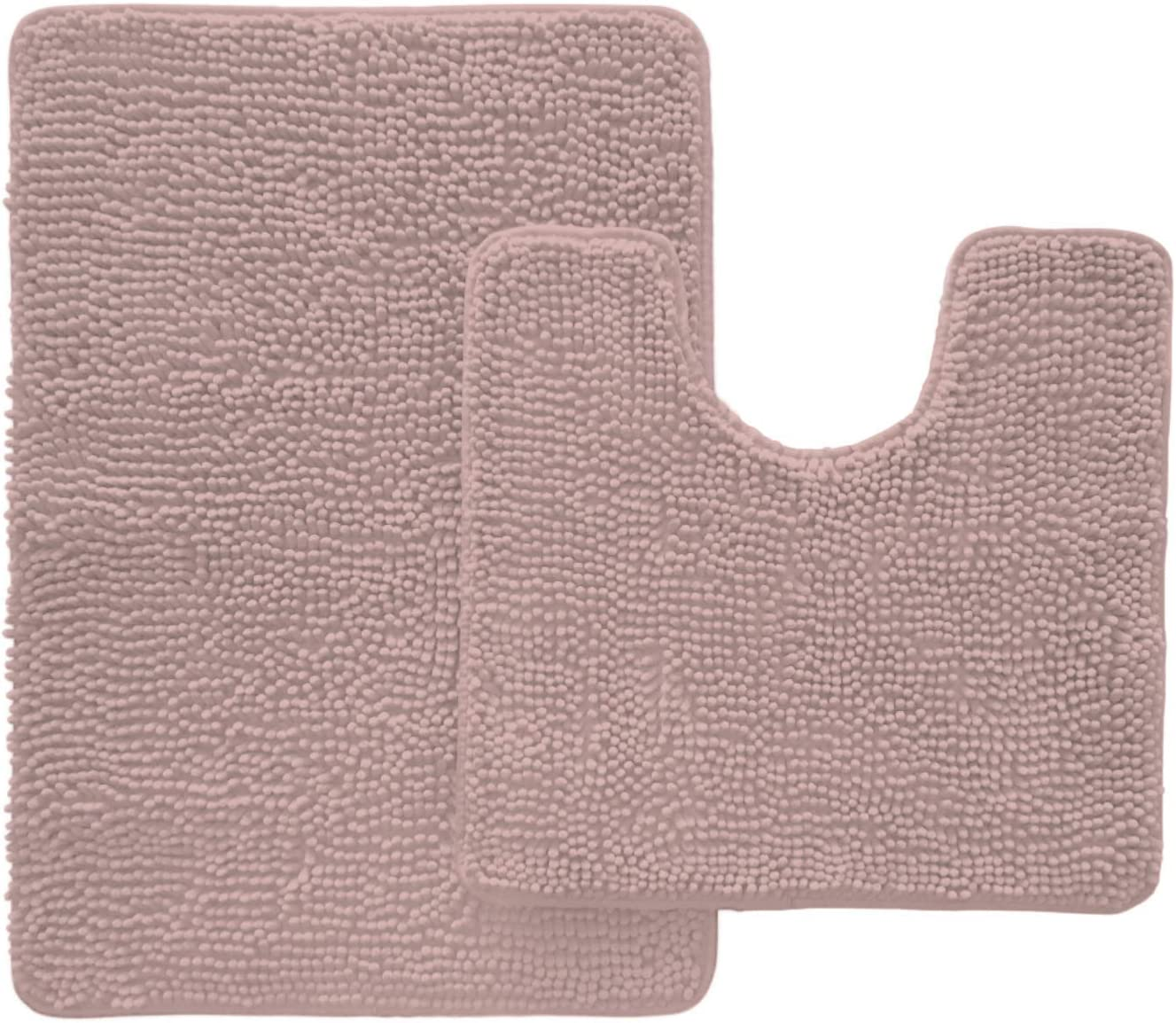 Gorilla Grip Original Shaggy Chenille 2 Piece Area Rug Set, Many Colors, Includes Oval U-Shape Contoured Toilet Mat and 30x20 Bathroom Rugs, Machine Wash Mats for Tub, Shower and Bath Room, Dusty Rose