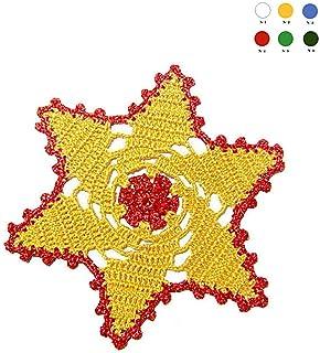 Posavaso rojo y amarillo de ganchillo para Navidad - Tamaño: ø 15.5 cm - Handmade - ITALY