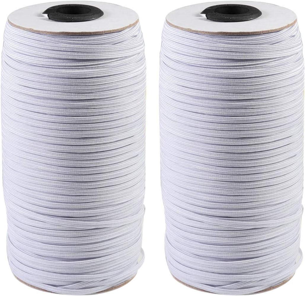 Yarnow 2pcs Crafts Flat Elastic Band Braided Stretch Strap Cord