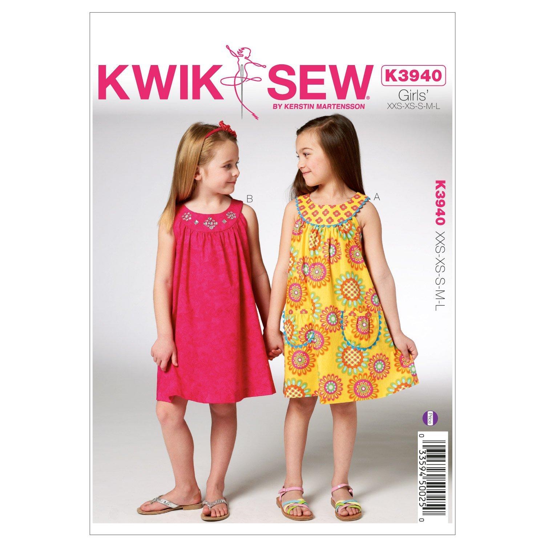 Kwik Sew K3940 Girls Dresses Sewing Pattern, Size XXS-XS-S-M-L