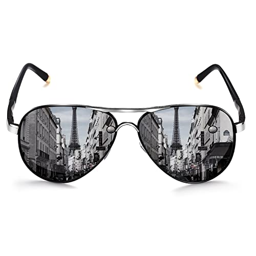 ed19b5d7d ROCKNIGHT Polarized Aviator Sunglasses for Men Women Metal Flat Top  Sunglasses lightweight Driving UV400 Outdoor