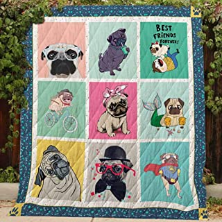 Pug, Best Friend - Quilt R153, King All-Season Quilts Comforters with Reversible Cotton King/Queen/Twin Size - Best Decorative Quilts-Unique Quilted for Gifts